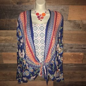 {Anthro} Fig & Flower blouse large